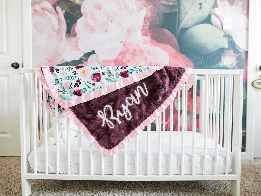 Maroon Floral Baby Blanket with Pink Satin Ruffle