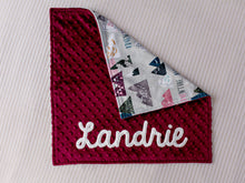 Load image into Gallery viewer, Adventure Awaits Burgundy Personalized Lovey Blanket