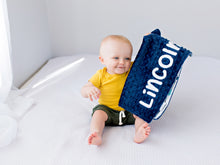 Load image into Gallery viewer, Adventure Awaits Navy Personalized Lovey Blanket