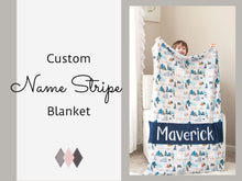 Load image into Gallery viewer, Custom Name Stripe Minky Blanket