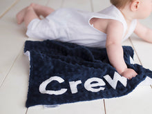 Load image into Gallery viewer, Navy Whale with Nursery Quote Personalized Lovey Blanket