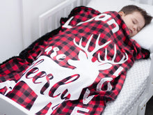 Load image into Gallery viewer, Buffalo Plaid Deer Baby Blanket