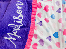 Load image into Gallery viewer, Pink and Purple Hearts Minky Blanket with Satin Ruffle and Name
