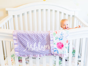 Personalized Lavender Floral Minky Blanket with Satin Ruffle
