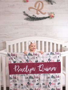 Adventure Awaits Burgundy Personalized Baby Girl Blanket
