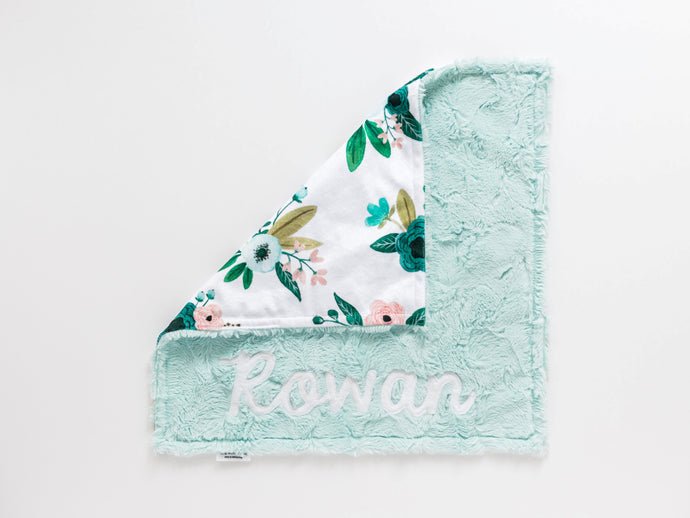 Aqua Floral Lovey Blanket with Name