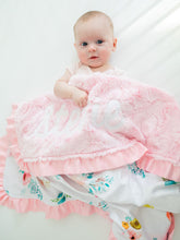 Load image into Gallery viewer, Personalized Light Pink Fur Floral Blanket with Satin Ruffle
