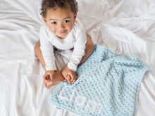 Load image into Gallery viewer, Rainbow Baby Personalized Lovey Blanket with Custom Color on Back