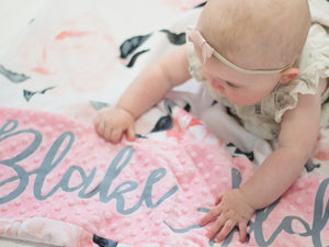 Pink and Gray Floral Personalized Baby Girl Blanket