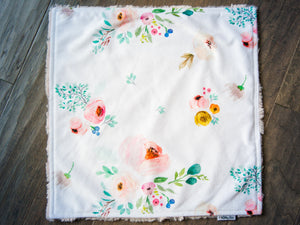 Blush Pink Floral Personalized Baby Girl Lovey Blanket
