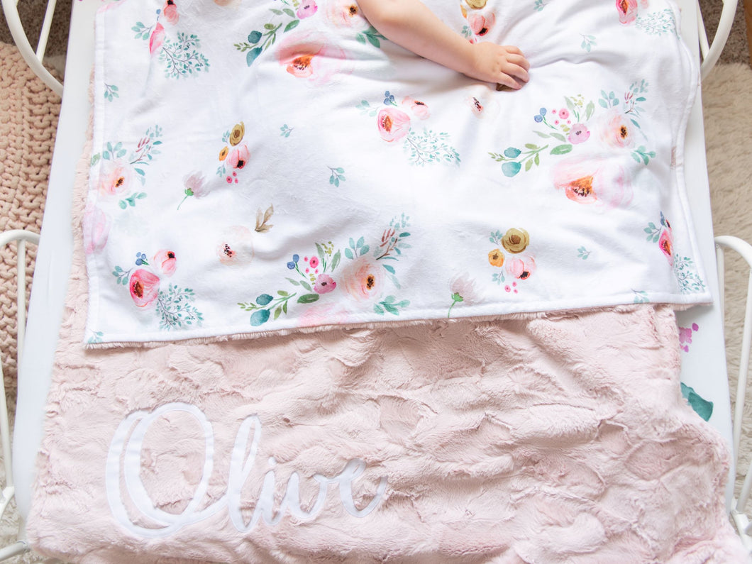 Blush Floral Blanket with Personalized Name