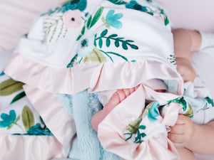 Aqua Coral Floral Baby Girl Minky Blanket with Satin Ruffle