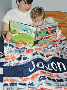 Navy Train Personalized Baby Boy Blanket