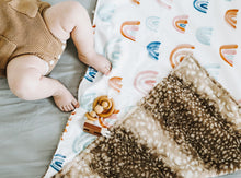 Load image into Gallery viewer, Fawn Fur Rainbow Baby Blanket with Personalized Name