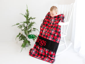 Buffalo Plaid Christmas Personalized Minky Blanket