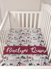 Load image into Gallery viewer, Adventure Awaits Burgundy Personalized Baby Girl Blanket