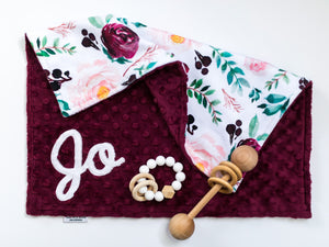 Burgundy Floral Personalized Lovey Blanket