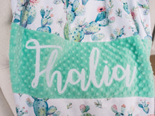 Load image into Gallery viewer, Mint Cactus Personalized Baby Girl Blanket