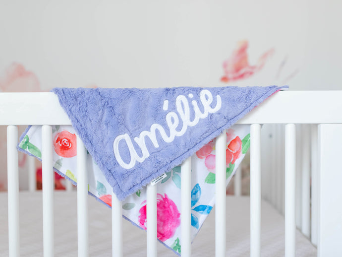 Purple Floral Lovey Blanket with Name