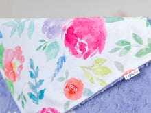 Load image into Gallery viewer, Purple Floral Lovey Blanket with Name