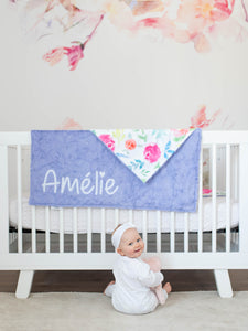 Purple Floral Blanket with Personalized Name