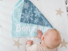 Load image into Gallery viewer, Gray Snowflakes Lovey Blanket with Name