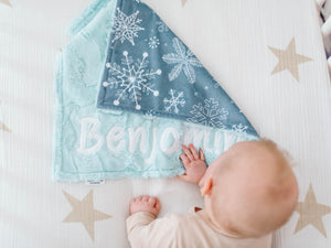 Gray Snowflakes Lovey Blanket with Name