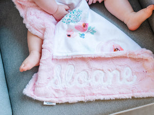 Light Pink Floral Lovey Blanket with Name