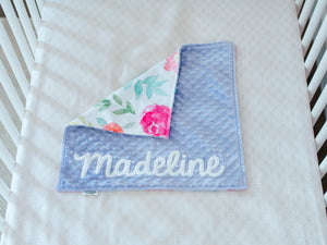 Lavender Floral Personalized Lovey Blanket