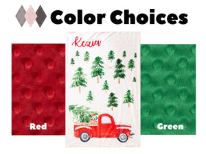 Personalized Christmas Blanket with Vintage Red Truck and Tree