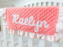 Load image into Gallery viewer, Coral Floral Personalized Lovey Blanket with Satin Ruffle