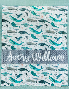 Gray Whale Personalized Baby Boy Blanket