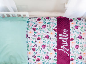 Burgundy Floral Personalized Baby Girl Blanket