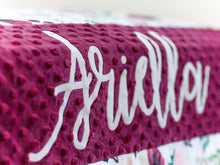 Load image into Gallery viewer, Burgundy Floral Personalized Baby Girl Blanket