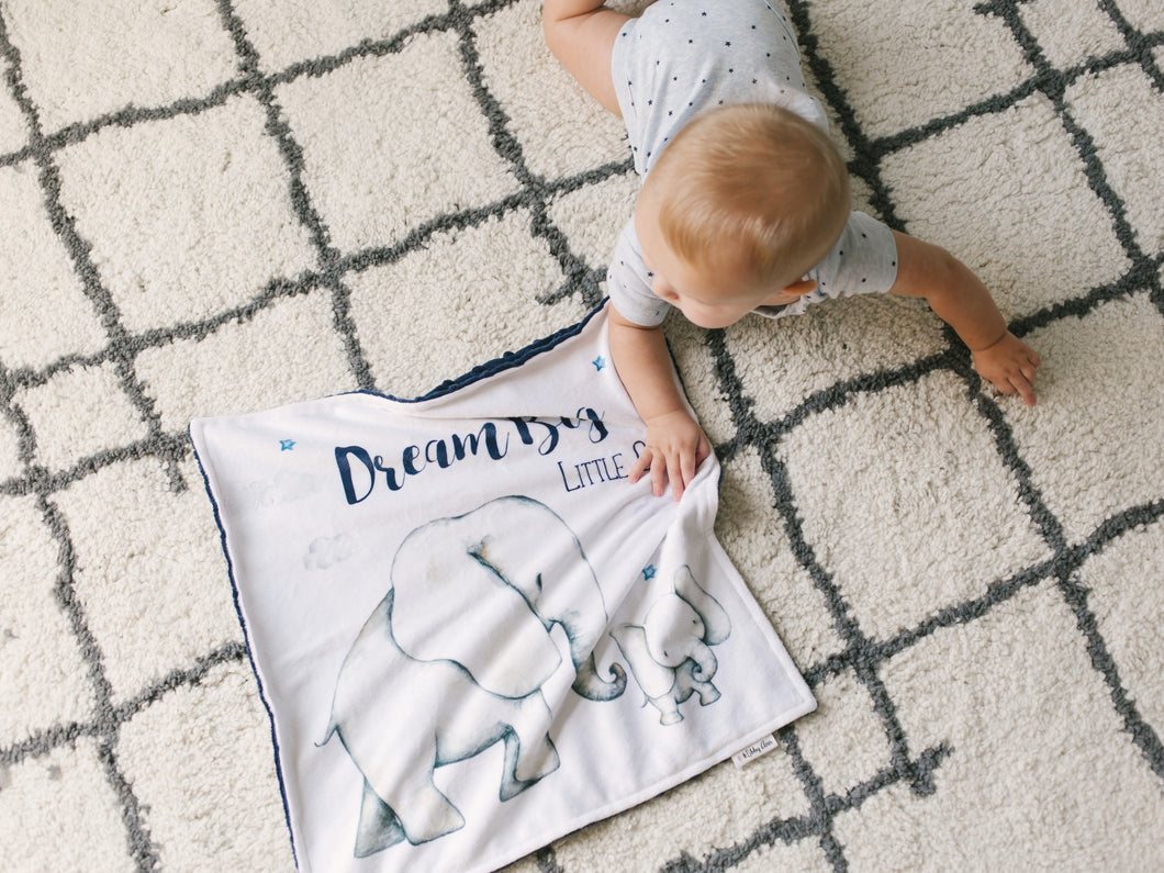 Navy Elephant Personalized Lovey Blanket