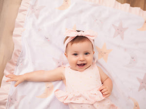 Stars and Moons Blush Pink Baby Girl Blanket with Satin Ruffle