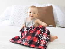 Load image into Gallery viewer, Snowflake Buffalo Plaid Personalized Lovey Blanket