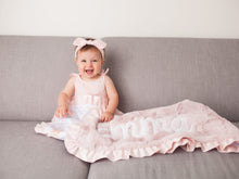 Load image into Gallery viewer, Stars and Moons Blush Pink Baby Girl Blanket with Satin Ruffle