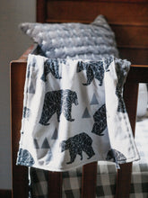 Load image into Gallery viewer, Gray Bears Personalized Lovey Blanket