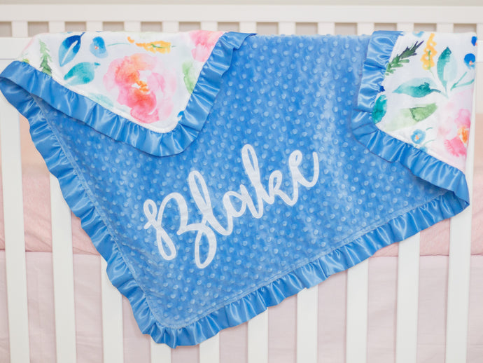 Blue Floral Personalized Minky Blanket with Satin Ruffle