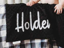Load image into Gallery viewer, Black and White Buffalo Check Personalized Baby Blanket