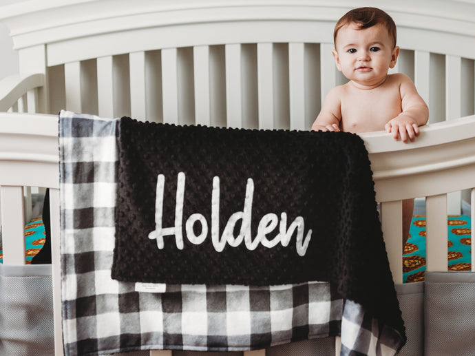Black and White Buffalo Check Personalized Baby Blanket