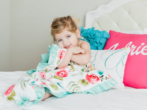 Mint and Pink Floral Personalized Minky Blanket with Satin Ruffle