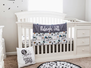 Adventure Awaits Gray Personalized Baby Boy Blanket