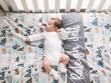 Load image into Gallery viewer, Adventure Awaits Gray Personalized Baby Boy Blanket