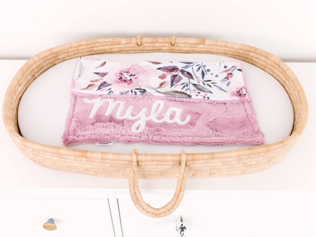 Dusty Rose Floral Lovey Blanket with Name