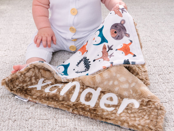 Personalized Woodland Animals Lovey Blanket