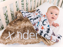 Load image into Gallery viewer, Woodland Animals Baby Blanket with Personalized Name and Brown Fawn Minky
