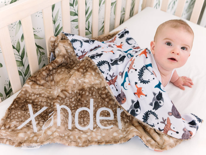 Woodland Animals Baby Blanket with Personalized Name and Brown Fawn Minky