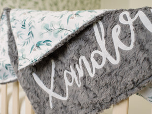 Eucalyptus Blanket Baby Blanket with Personalized Name
